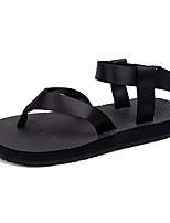 Men's Sandals Comfort PU Spring Fall Outdoor Comfort Flat Heel Ruby Black Flat