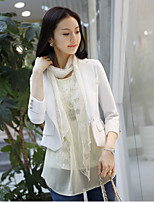 Women's Work Simple Spring Blazer,Solid Notch Lapel 3/4 Length Sleeve Short Cotton