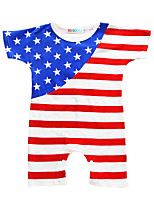 Baby Stripes One-PiecesCotton Summer Short Sleeve American Flag Newborn Baby Boys Girls Romper
