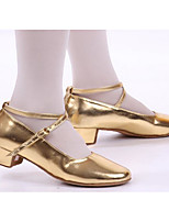 Women's Latin PU Flats Heels Practice Silver Gold