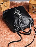 Women Backpack PU All Seasons Casual Round Zipper Black