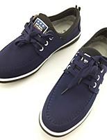Для мужчин Кеды Удобная обувь Ткань Весна Осень Повседневные Шнуровка На плоской подошве Черный Синий Менее 2,5 см