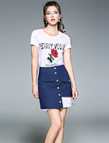 YIYEXINXIANGWomen's Going out Casual/Daily Chic & Modern Summer T-shirt Skirt SuitsEmbroidered Round Neck Short Sleeve Micro-elastic