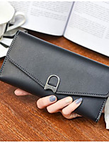 Women Checkbook Wallet PU All Seasons Casual Rectangle Magnetic Dark Blue Black Gold