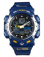 Homens Relógio Esportivo Relógio de Moda Digital Calendário Impermeável Noctilucente Borracha Banda Preta Branco Azul