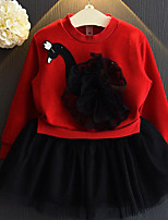Vestido Chica de Bloques Un Color Poliéster Manga Larga Verano