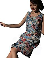Une Pièce/Robes Lolita Classique/Traditionnelle Rétro Cosplay Vêtrements Lolita Imprimé Rétro Sans Manches Cheongsam Pour Lin Coton