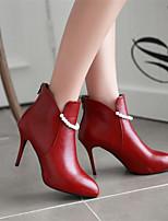 Damen Stiefel Komfort Frühling PU Normal Stöckelabsatz Weiß Schwarz Rot Flach