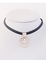 Women's Choker Necklaces Circle Copper Rhinestone Euramerican Fashion Jewelry Party 1pc