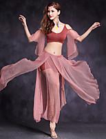 Dança do Ventre Roupa Mulheres Apresentação Modal Tule 3 Peças Meia manga Natural Saias Blusas Calções