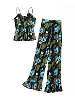 Women's Casual/Daily Simple Summer Blouse Pant Suits,Print Strap Sleeveless Micro-elastic