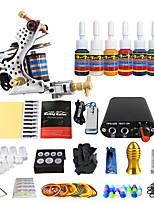 Complete Beginner Tattoo Kit 1 Machine 7 Color Ink Set  Power Supply Needles Grip Tip