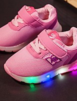 Girls' Sneakers Light Up Shoes Tulle Net Summer Fall Casual Light Up Shoes LED Low Heel Blushing Pink Blue Gray Black Under 1in