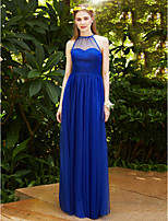2017 LAN TING BRIDE Floor Length Jewel Bridesmaid Dress - See Through Elegant Sleeveless Tulle