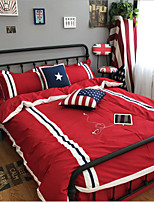British style Flags 4 Piece Bet Sets Pure Cotton  1pc Duvet Cover 1pc Flat Sheet For 2 Meter Bed