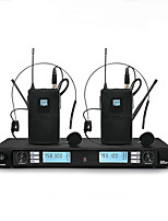 Wireless Microphone Karaoke System With  Dual black headset Transmitter Microfone Mic