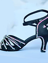 Women's Latin Polyamide fabric Sandals Indoor Rhinestones Black 2