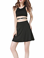 Women's Daily Casual Casual Suits Summer Tank Top Skirt Suits,Solid Strap Sleeveless strenchy