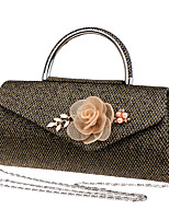 Women Bags All Seasons Polyester Evening Bag with Rhinestone Satin Flower Pearl Detailing for Wedding Event/Party Formal Blue Black Red