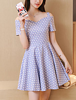 Women's Slim chic A Line Dress Polka Dots Strap Off Shoulder Mini Short Sleeve Cotton  Summer