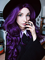 Europe and the United States the latest fashion wigs purple long section of the natural wave of high temperature wire wig