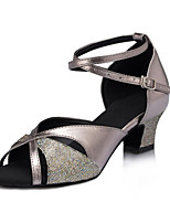 Women's Latin Faux Leather Sandals Performance Sparkling Glitter Cuban Heel Gray 2
