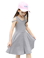 Girl's Stripe Solid Dress,Cotton Summer Sleeveless