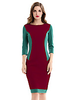 Womens Elegant Autumn Patchwork 3/4 Sleeve Cutout Tunic Work office Vintage  Party Fitted Bodycon Pencil Sheath Slim Dress D0531