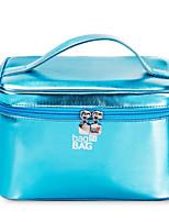 Women Cosmetic Bag PU All Seasons Casual Baguette Zipper Fuchsia Purple Blushing Pink Gold Blue