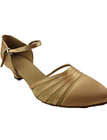 Women's Latin Silk Sandals Performance Splicing Chunky Heel Camel 1