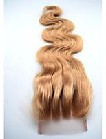 4x4 швейцарские кружева закрытие клубника блондинка # 27 корпус волна кружево закрытие темные светлые человеческие волосы затворы