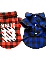 Dog Shirt / T-Shirt Dog Clothes Casual/Daily Plaid/Check Blue Ruby