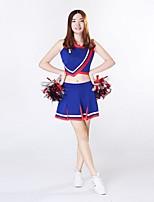 Fantasias para Cheerleader Roupa Mulheres Apresentação Roupa de Malha Recortes 2 Peças Sem Mangas Alto Saias Blusas