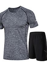 Men's Running T-Shirt with Shorts Moisture Wicking Quick Dry Clothing Suits for Running/Jogging Exercise & Fitness Gray