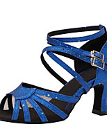 Women's Latin Silk Sandals Performance Buckle Stiletto Heel Blue 3