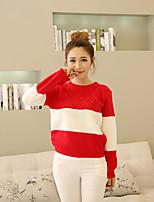Standard Pullover Da donna-Per uscire Casual Romantico Collage Rotonda Manica lunga Altro Autunno Medio spessore Media elasticità