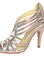 Women's Latin Flocking Sandals Performance Criss-Cross Stiletto Heel Blushing Pink Silver 3