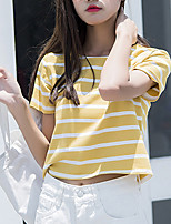Women's Going out Casual/Daily Cute Summer Fall T-shirt,Striped Round Neck Short Sleeve Cotton Medium