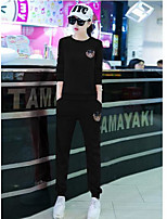 Women's Casual/Daily Casual Fall T-shirt Pant Suits,Solid Round Neck ¾ Sleeve
