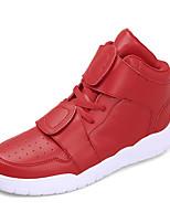 Herren Sneaker Komfort Leuchtende Sohlen Leder Sommer Herbst Normal Klettverschluss Flacher Absatz Weiß Schwarz Rot Weiß und Grün Flach
