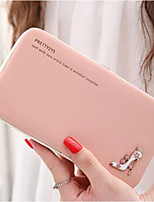 Women Checkbook Wallet PU All Seasons Casual Rectangle Toggle Clasp Blushing Pink Azure Black