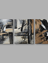 IARTS® Hand Painted Modern Abstract Black White & Beige Color Lines on Canvas Set of 3 Oil Painting On Canvas with Stretched Frame Wall Art For Home