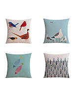 4 pcs Linen Pillow case Bed Pillow Body Pillow Travel Pillow Sofa Cushion,Pattern Prints AnimalsArtistic Simple Pattern Nature Inspired