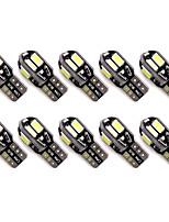 10pcs t10 8 smd 5630 conduit erreur canbus illumination automatique w5w 8smd conduit voiture cale bulles d'airain lampes de lecture dc12v