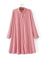 Для женщин На выход На каждый день Весна Осень Рубашка Рубашечный воротник,Секси Простое Уличный стиль В клетку Длинный рукав,Хлопок,
