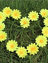 100Pcs/Group Small Silk Sunflower Handmake Artificial Flower Head Wedding Decoration DIY Wreath Gift Box Scrapbooking Craft Fake Flower