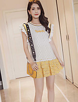 Women's Daily Casual Casual Summer T-shirt Skirt Suits,Color Block Quotes & Sayings Round Neck Sleeveless Micro-elastic