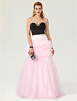 Ball Gown Sweetheart Floor Length Satin Tulle Formal Evening Dress with Crystal Detailing Cascading Ruffles by TS Couture®