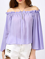 Tee-shirt Femme,Couleur Pleine Sexy Shopping Sortie Décontracté / Quotidien Sexy simple Chic de Rue Printemps Eté Manches Longues Bateau