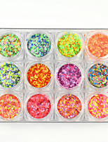 12PCS New Nail Glitter Powder Mixed Colors Nail Art Paillette Shining Tips Manicure Accessories 130g/PC